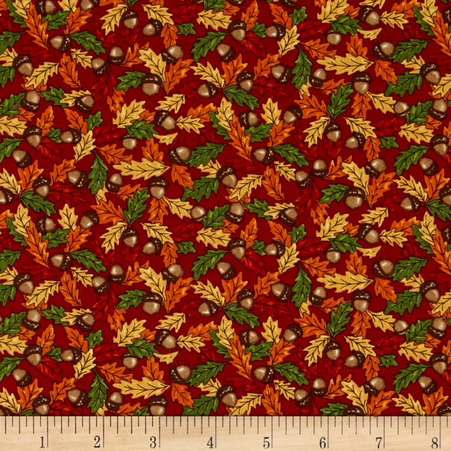 Moda Forest Fancy Acorns & Leaves Berry Red