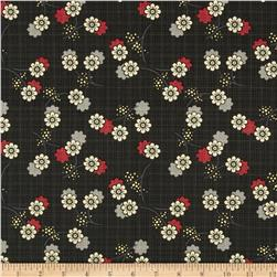 River Mist Metallic Small Floral Black