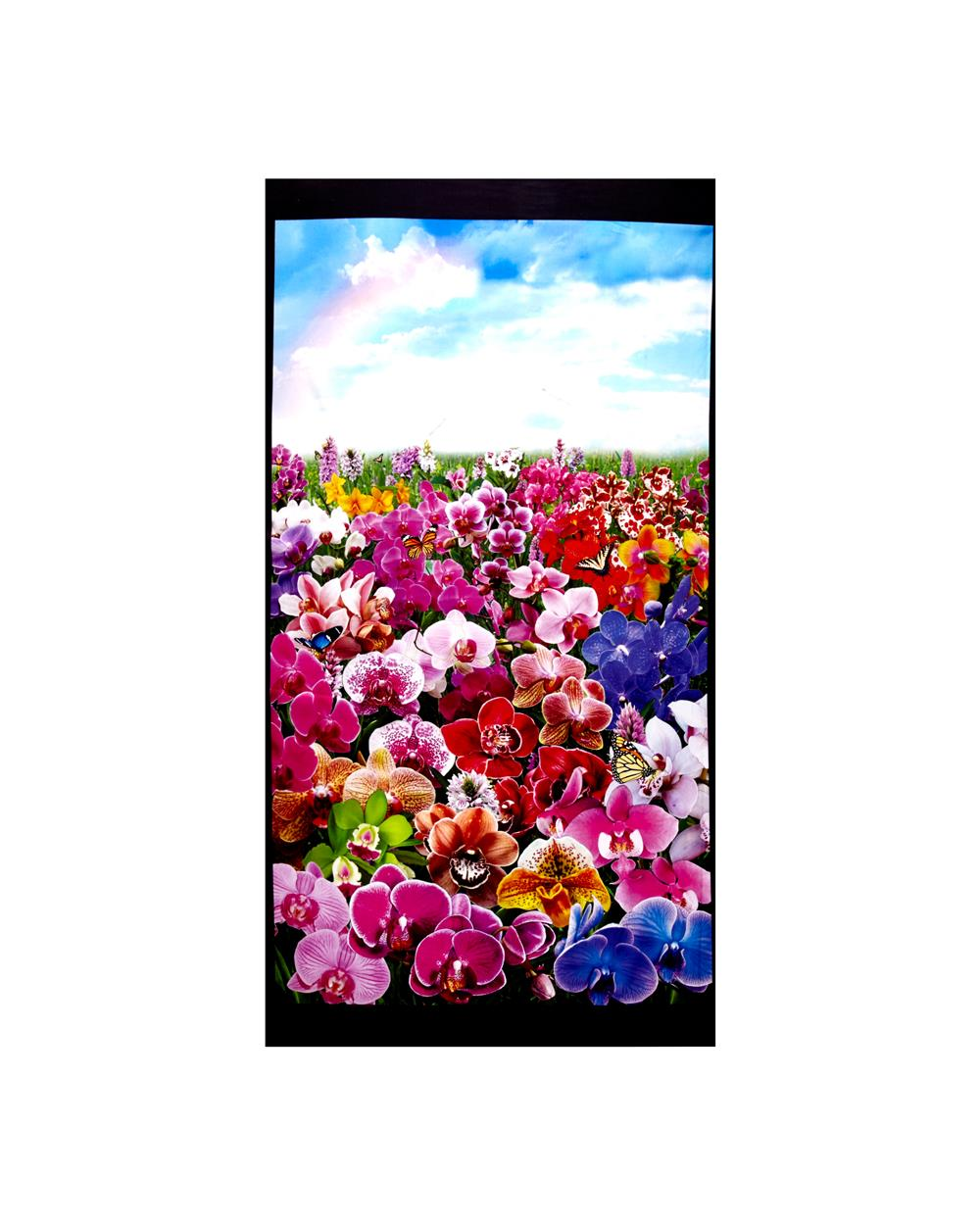 Digital Garden Orchids 24 In. Panel Black Fabric By The Yard