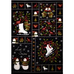 Crazy for Christmas Flannel Panel Black