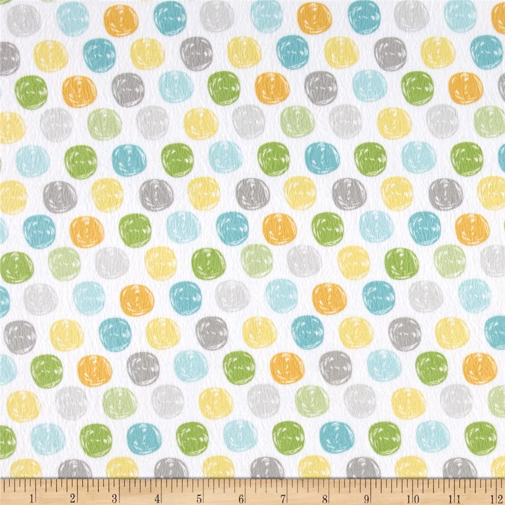 Sweet Meadow Flannel Dots White Fabric