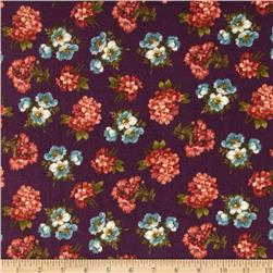 Kensington Flannel Small Floral Plum
