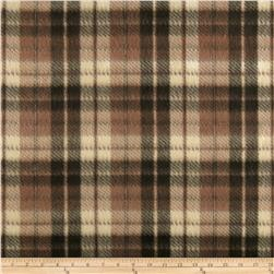 Fleece Print Plaid Brown/Gray/Black