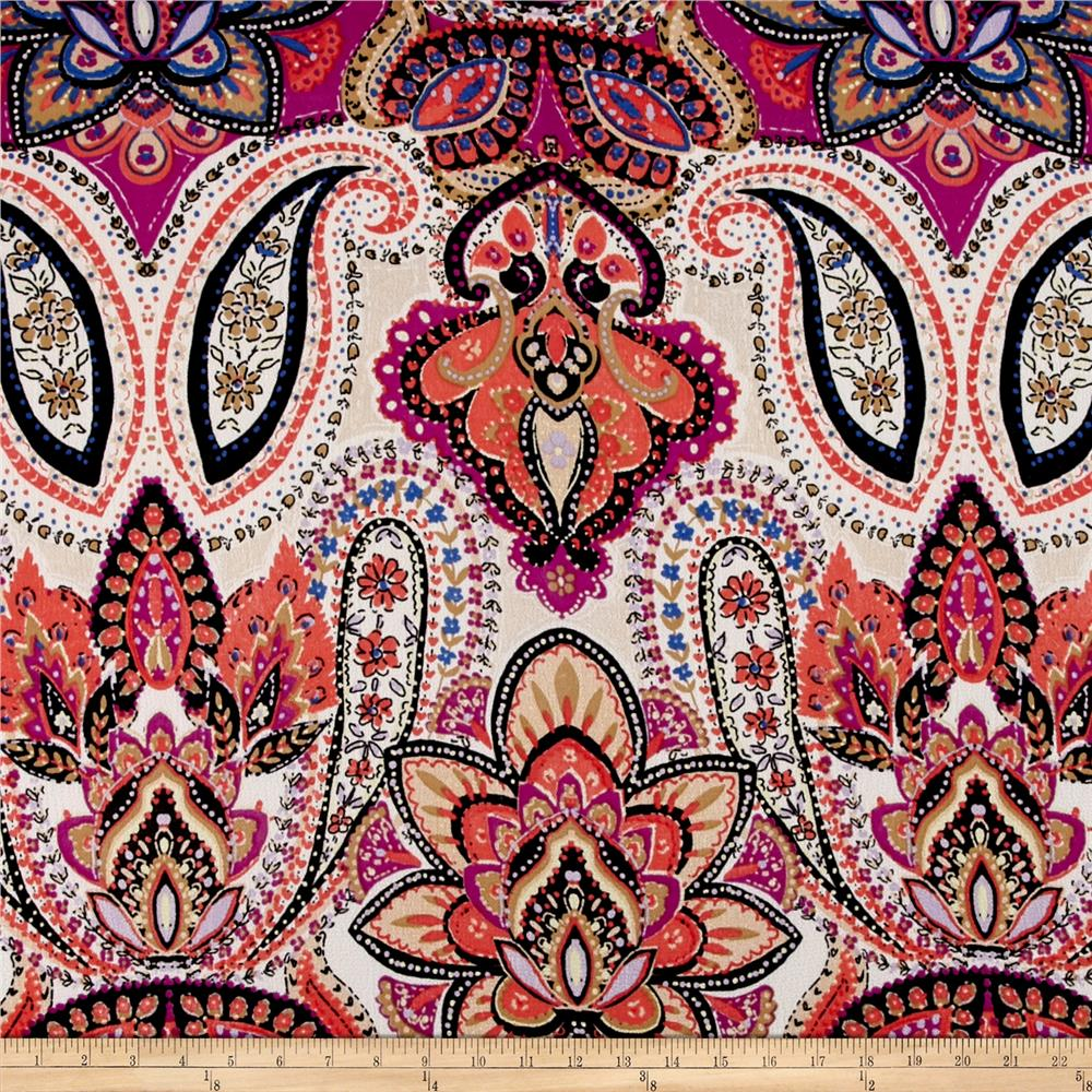 Bubble Crepe Paisley Coral/Magenta
