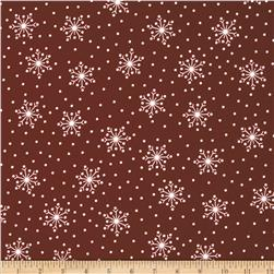 Crazy for Christmas Flannel Tossed Snowflake Red Fabric