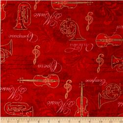 Kaufman All That Jazz Metallics Instrument Collage Red