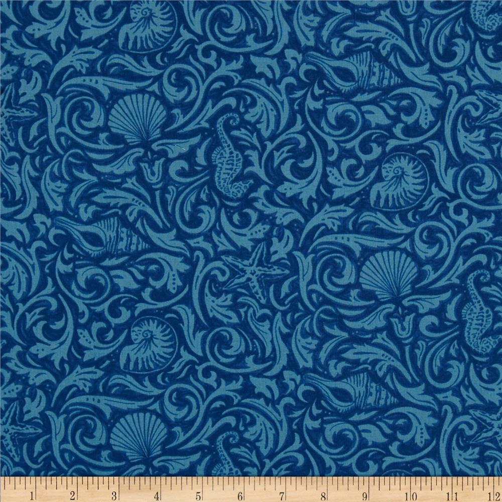Moda Seascapes Gifts From The Sea Tonal Navy