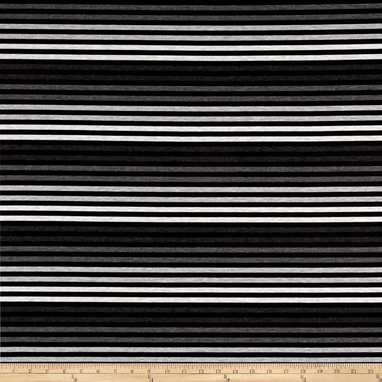 Image of Jersey Knit Ombre Stripes Gray & Black Fabric