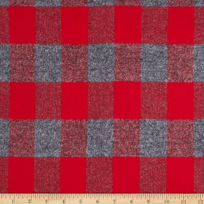 Kaufman Mammoth Flannel Plaid Red