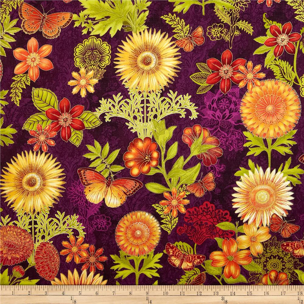Joyful Blooms Metallic Floral Allover Aubergine