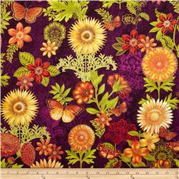 Joyful Blooms Metallic Floral Allover Aubergine Fabric