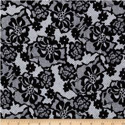 Cotton Lycra Jersey Knit Lace Print Black/White