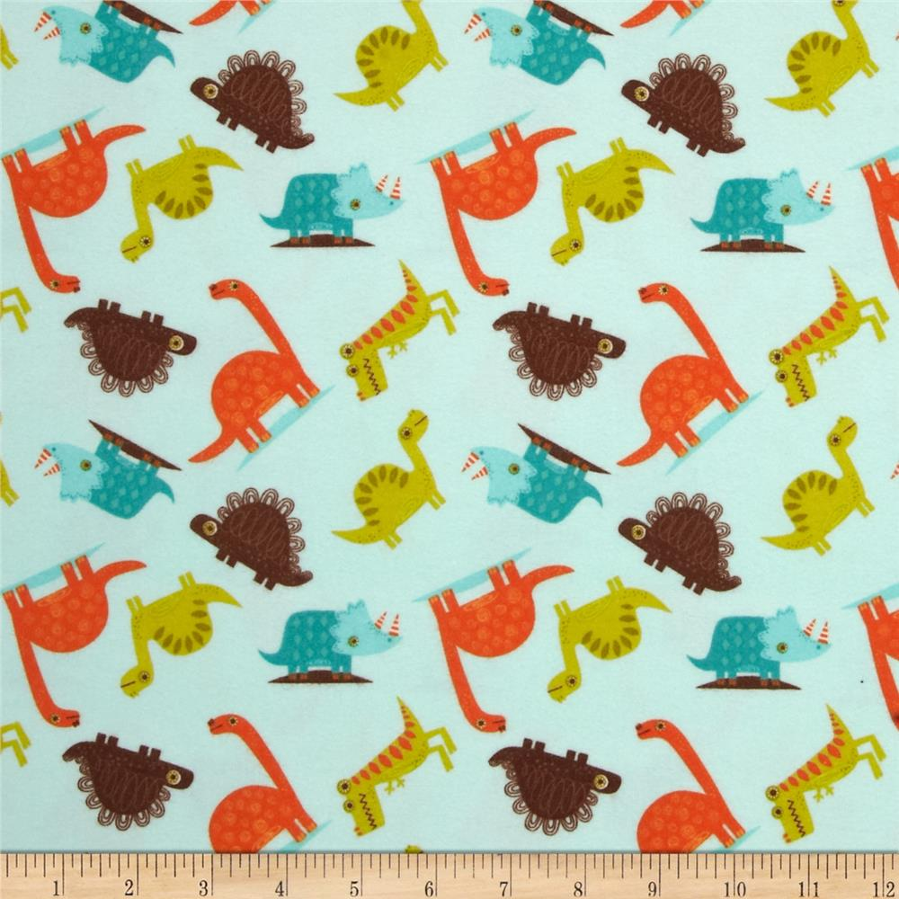 Riley Blake Dinosaur Flannel Toss Blue