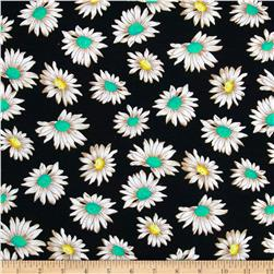 Dakota Stretch Rayon Jersey Knit Flowers Black Fabric