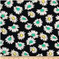 Dakota Stretch Rayon Jersey Knit Flowers Black