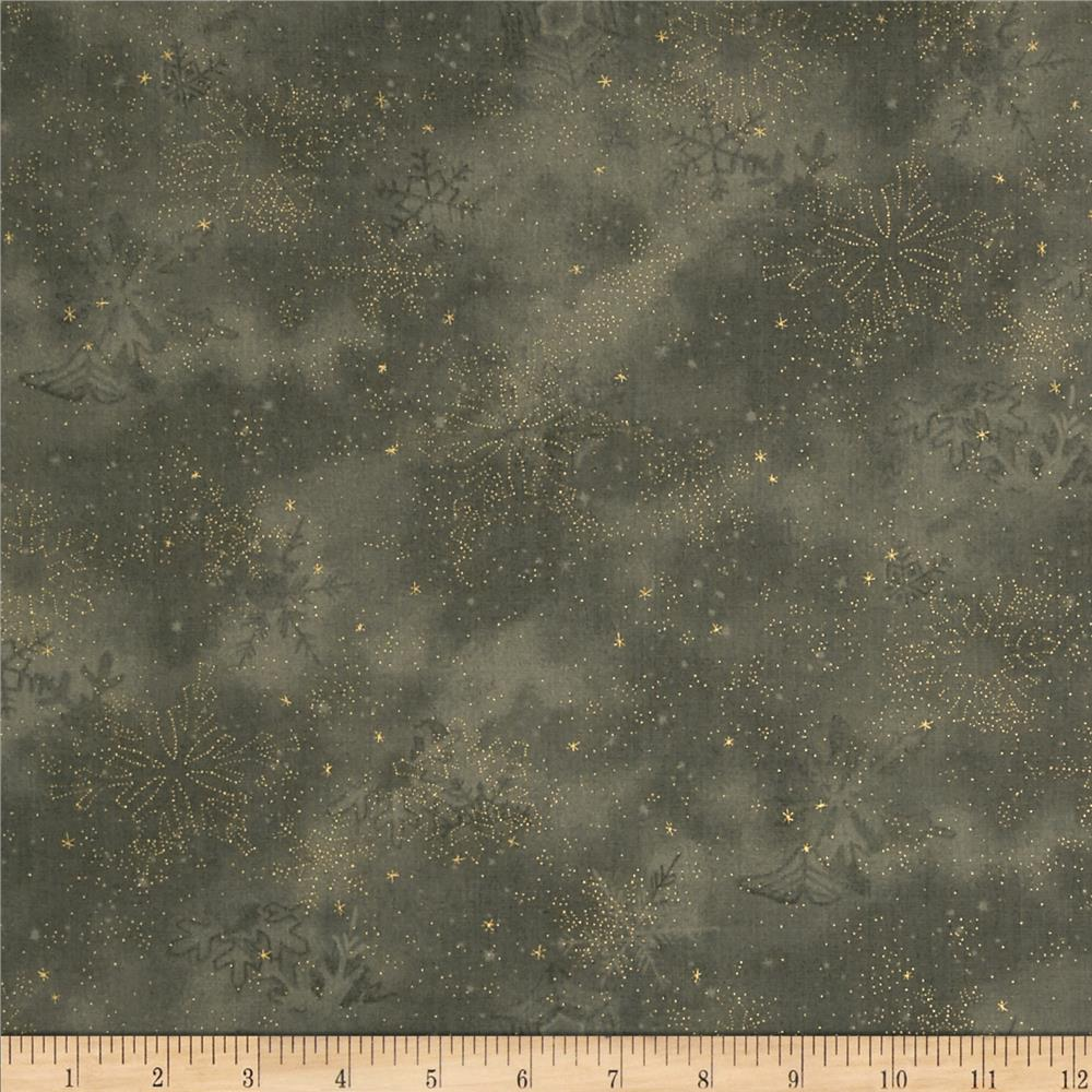 Moda Let it Glow Metallic Snowflake Slate