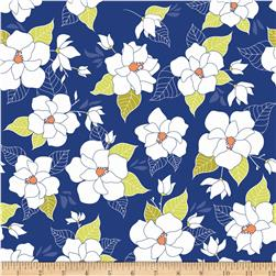 Riley Blake Lula Magnolia Large Floral Blue Fabric