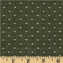 Kaufman Cotton Chambray Dots Olive Fabric
