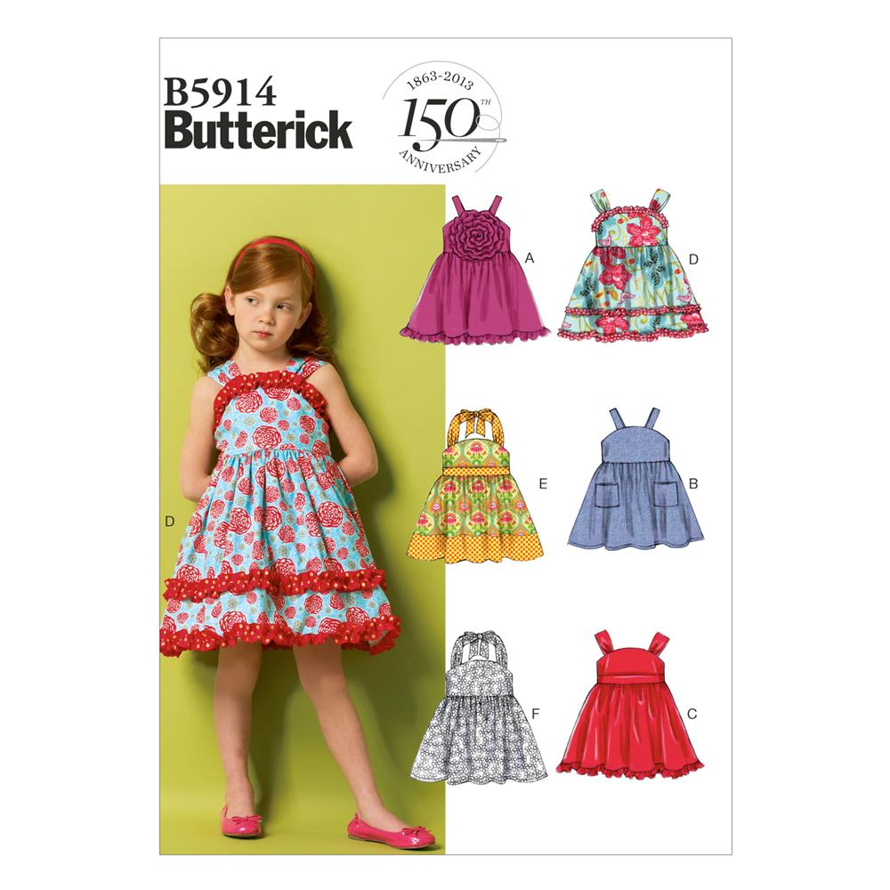 Butterick children 39 s girls 39 dress and belt pattern b5914 for Kids pattern fabric