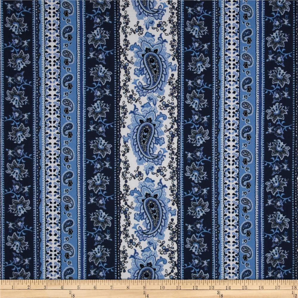 Quilt Patterns Using Stripe Fabric : Paisley Floral Stripe Blue - Discount Designer Fabric - Fabric.com