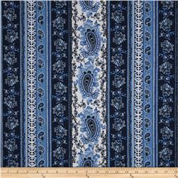 Paisley Floral Stripe Blue Fabric