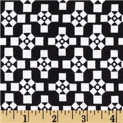 Designer Stretch Jersey Knit Tile Black