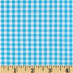 "60"" Cotton Blend Woven 1/4'' Gingham Turquoise"