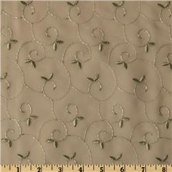 Embroidered Chiffon Vines Natural/Sage