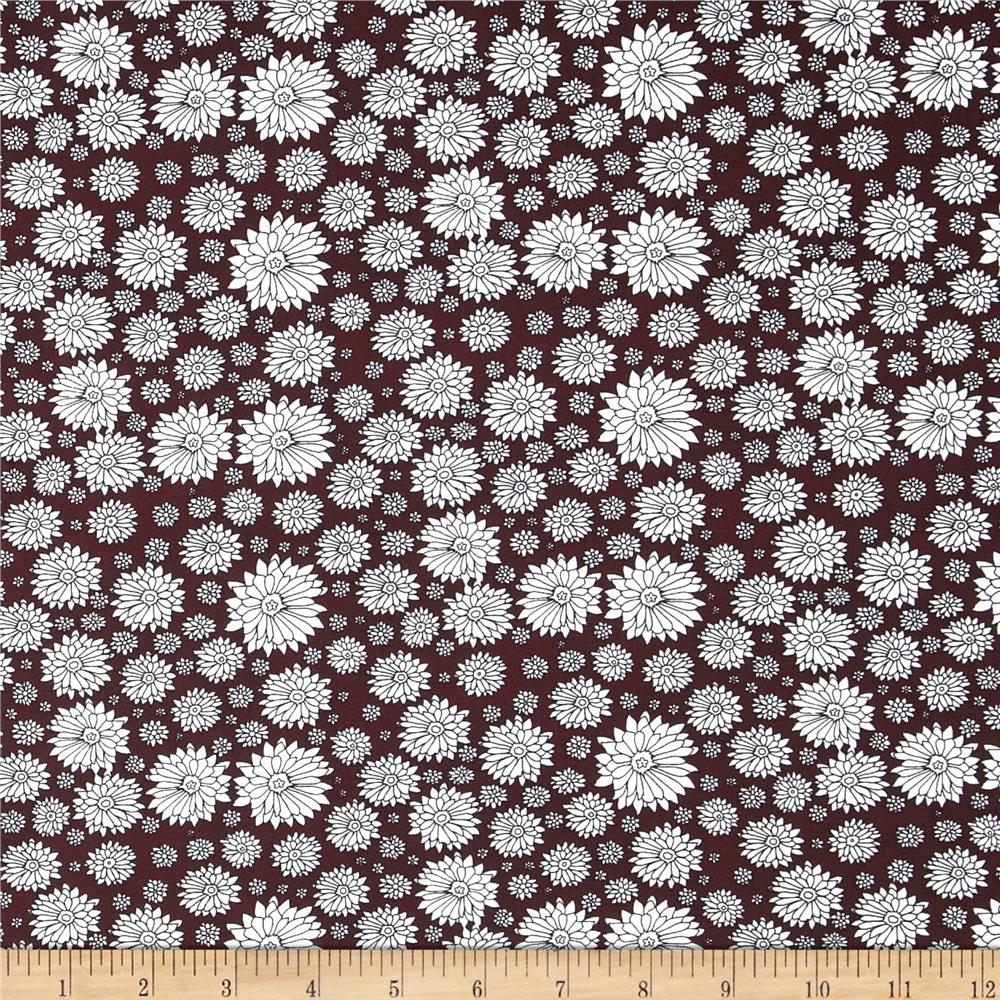 Morocco Blues Stretch Poplin Floral Print Midnight Burgundy/White