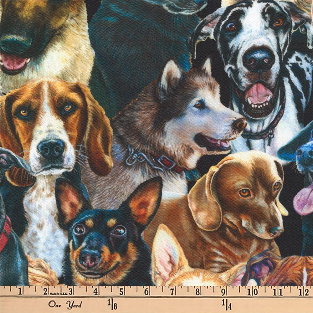 Kaufman Whiskers And Tails Digital Prints Dogs Multi