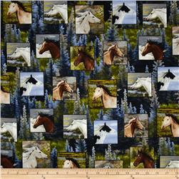 Running Wild Horse Patches Blue Fabric