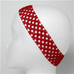 1 3/4'' Stretch Crochet Headband Red