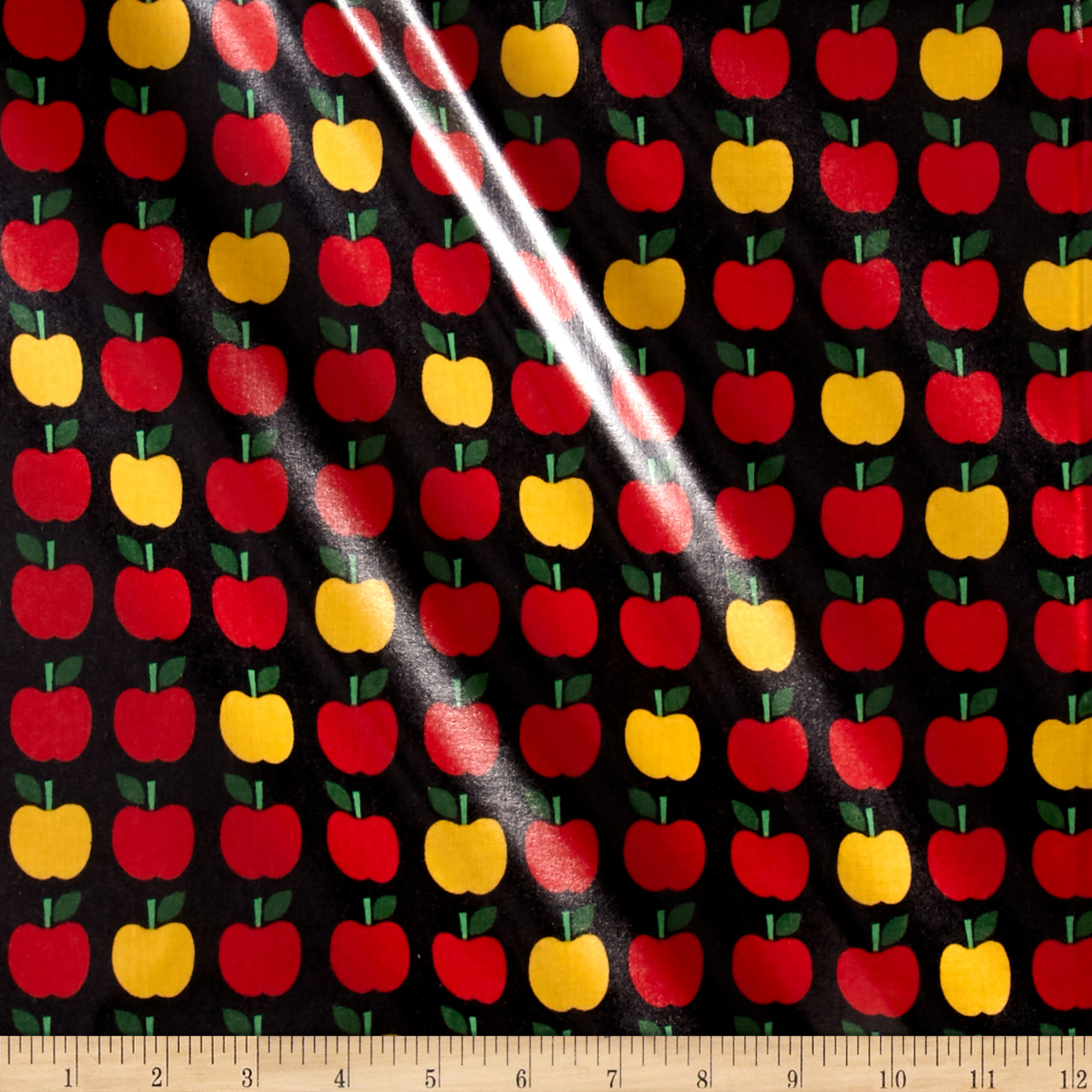 Kaufman Back to School Slicker Laminated Cotton Apples Jet Fabric by Kaufman in USA