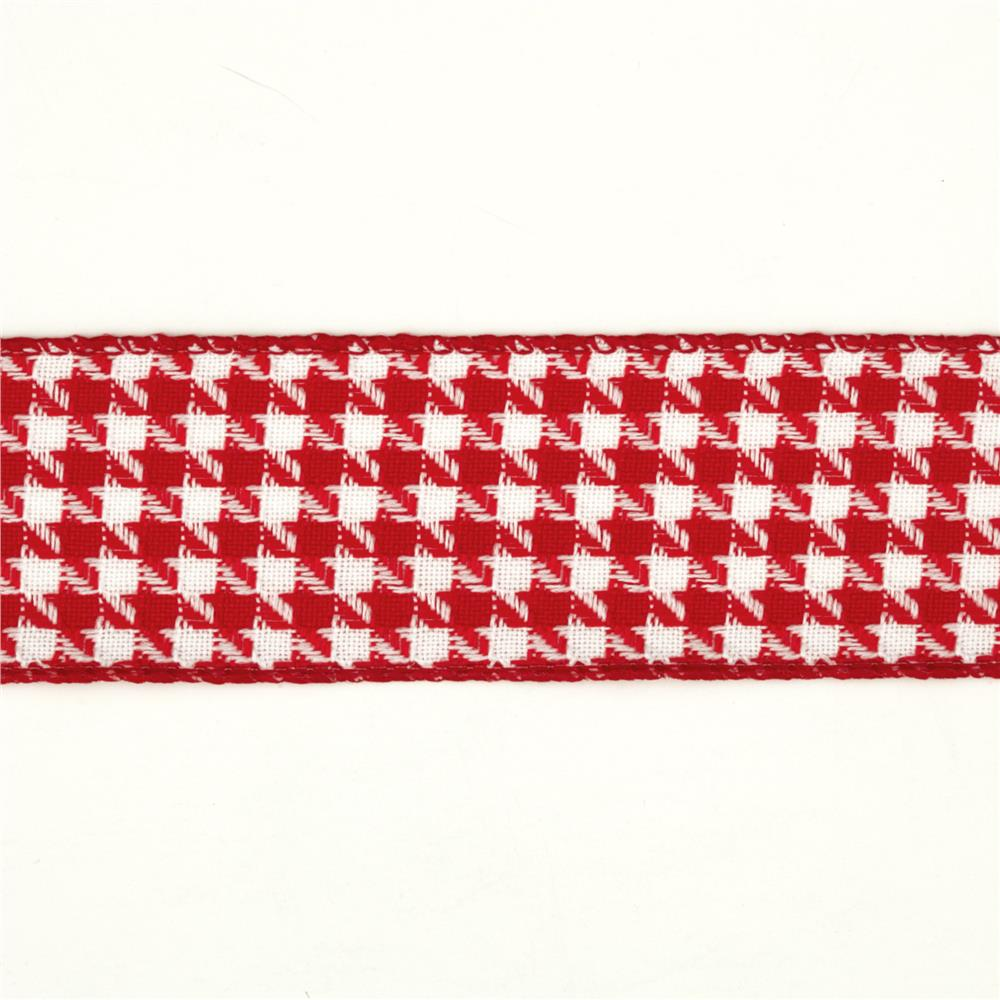"1 1/2"" Houndstooth Nylon Edge Ribbon Red"