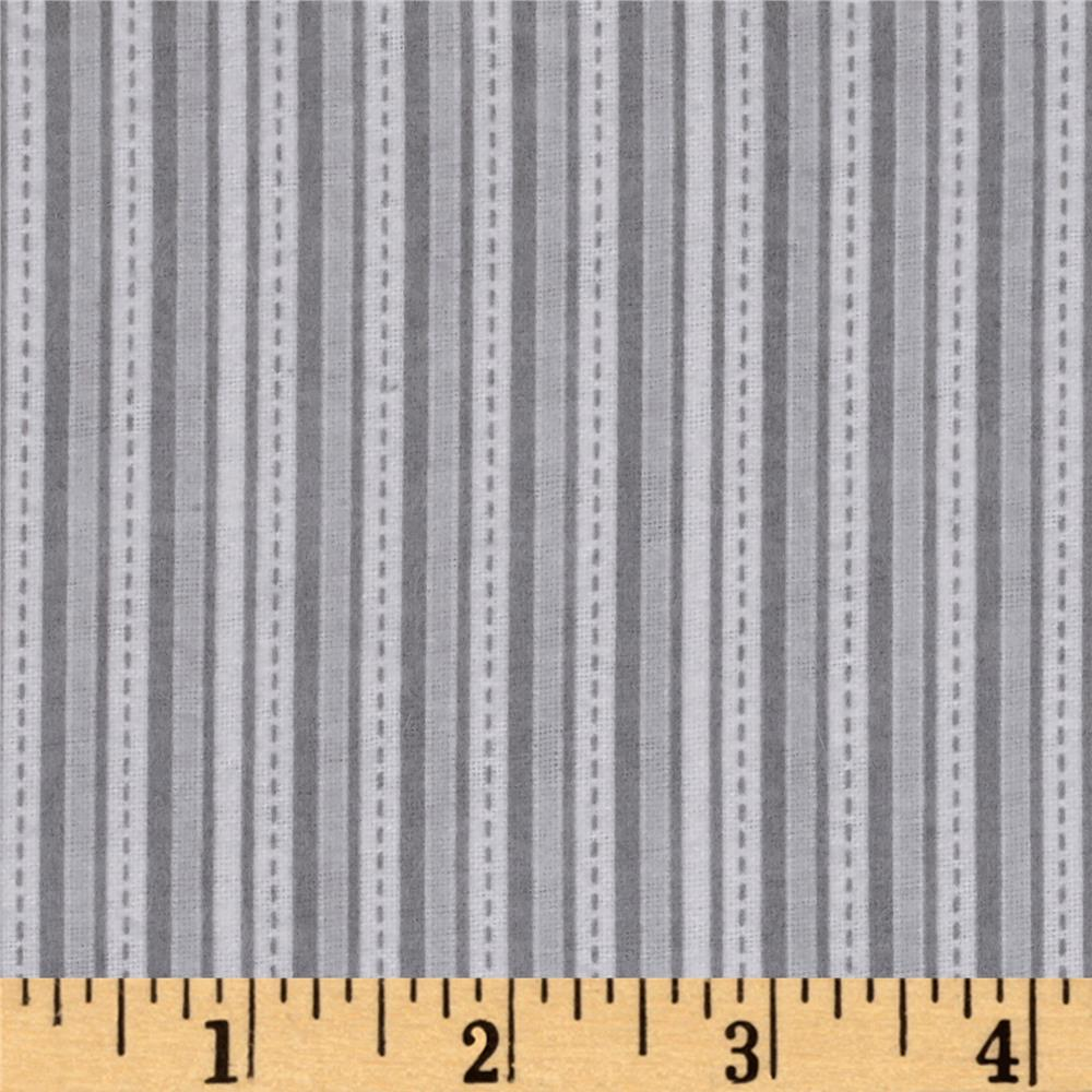 Alpine Flannel Stripe Gray Fabric By The Yard