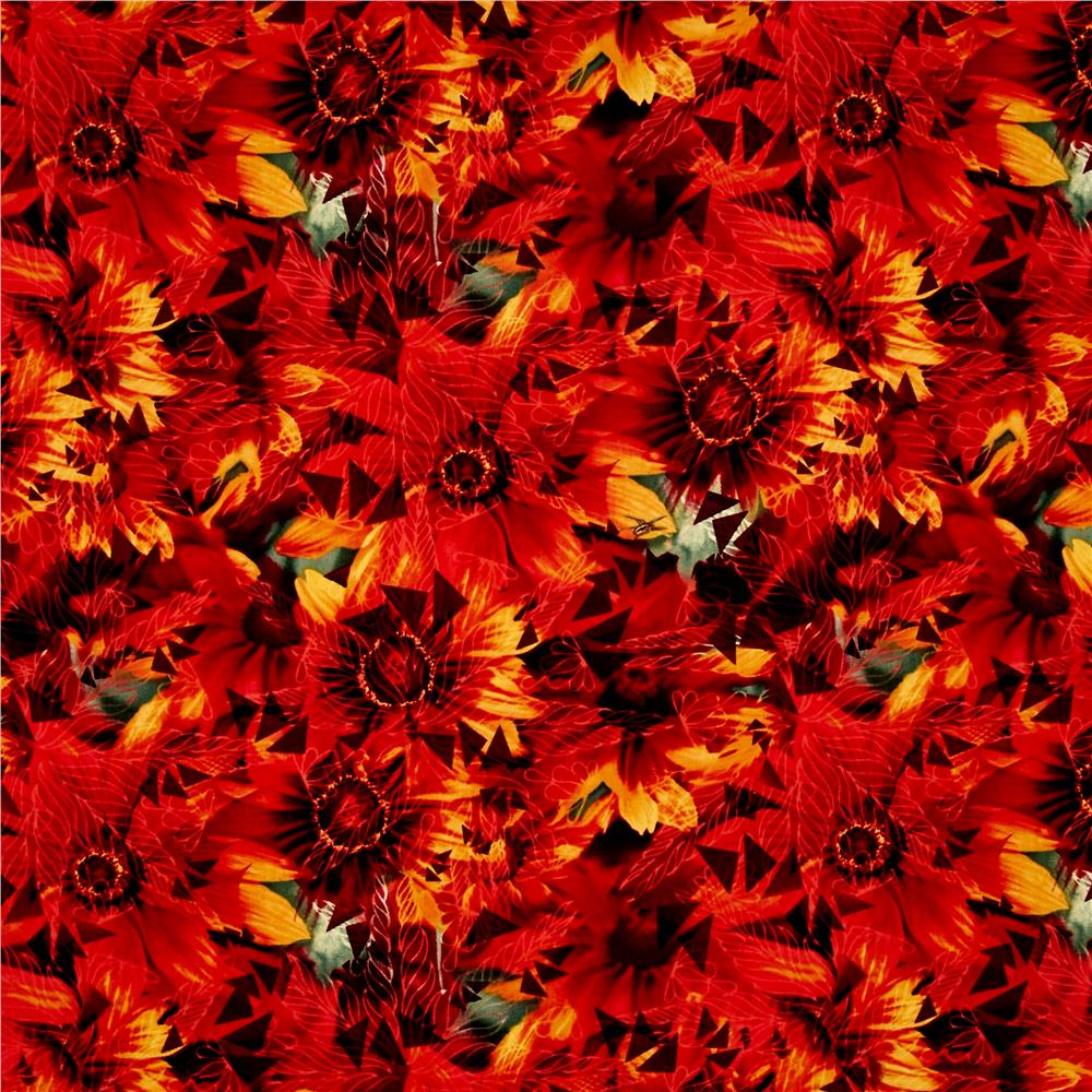Judy Niemeyer Wildflowers Bloom Abstract Red