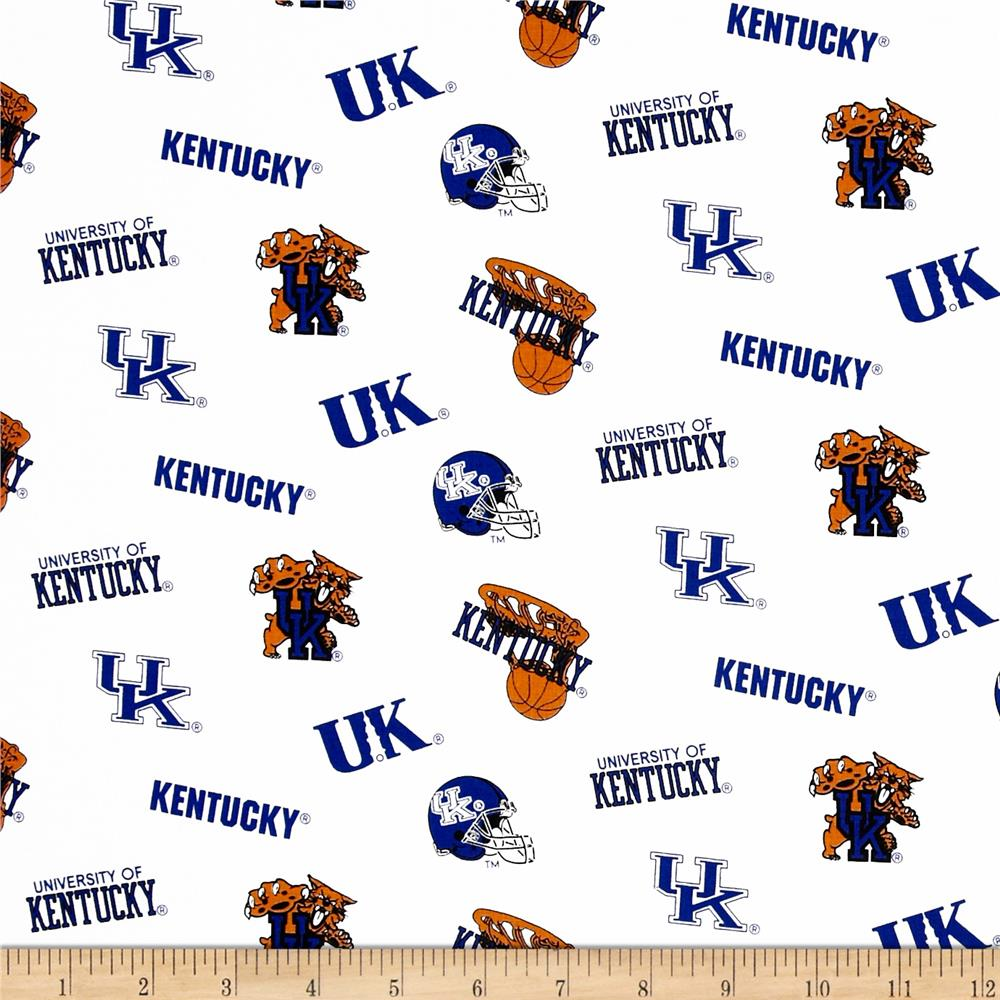 Collegiate Cotton Broadcloth University of Kentucky White