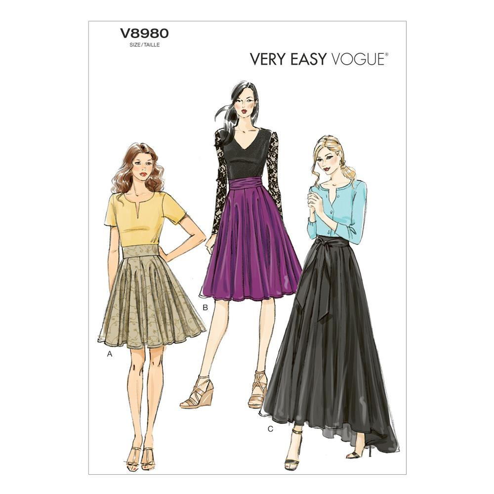 Vogue Misses' Skirt Pattern V8980 Size A50