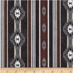 Timeless Treasures Cabin Rules Cabin Stripe Black