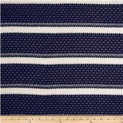 Designer Sweater Knit Stripe Navy/Cream Fabric