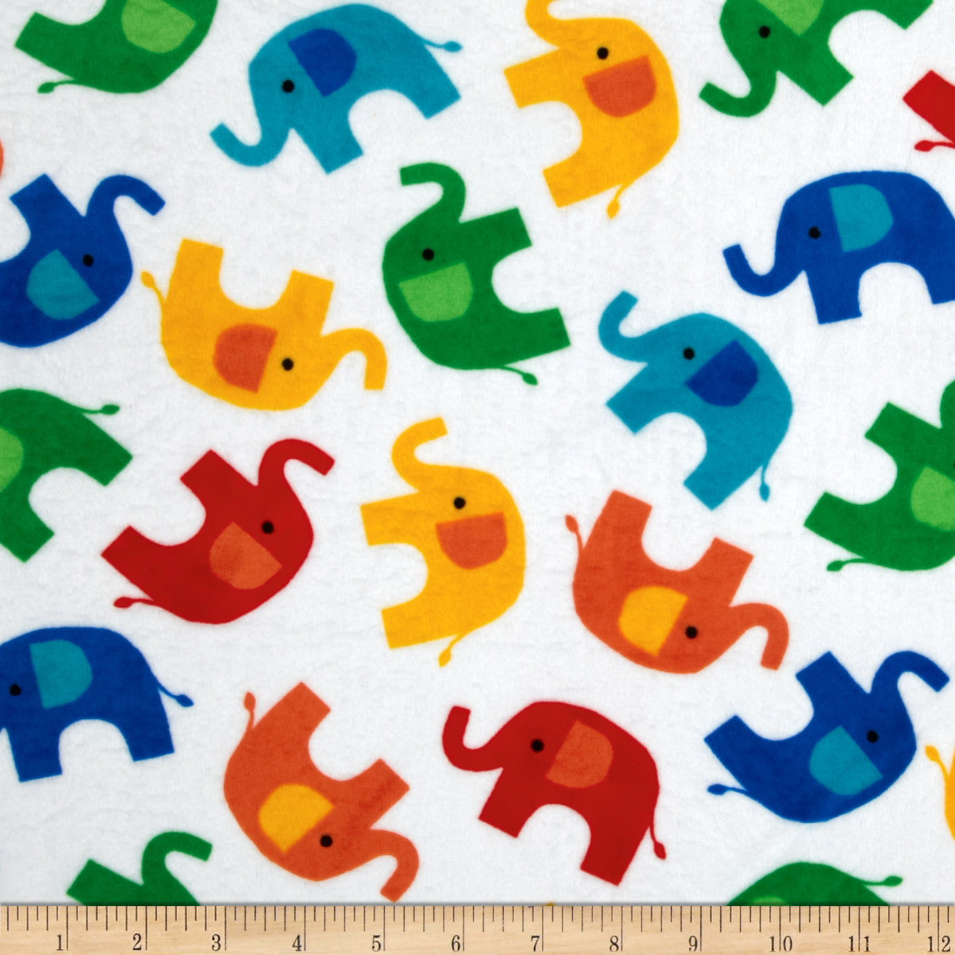 Minky Softie Elephant White Fabric
