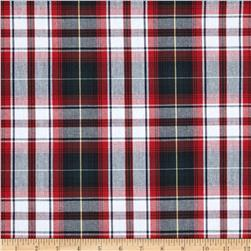 Poly/Cotton Uniform Plaid Green/Black/Red Fabric