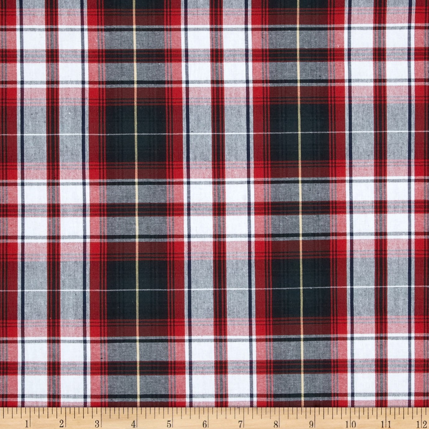 Poly/Cotton Uniform Plaid Green/Black/Red Fabric by Carr in USA