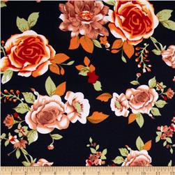 Stretch Ponte de Roma Knit Florals Navy/Orange