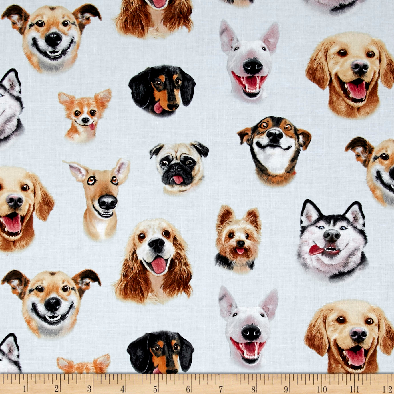 Pet Selfies Dogs Blue Fabric
