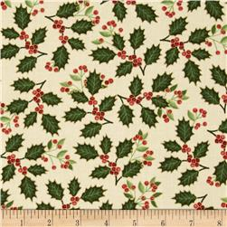 Happy Holidays Metallic Holly Ivory