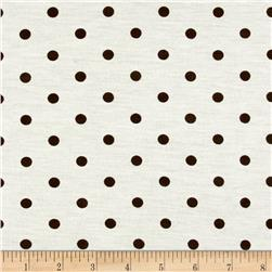 Rihan Jersey Knit Polka Dots Brown/White