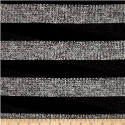 Sweater Knit Lurex Black/Grey Stripe