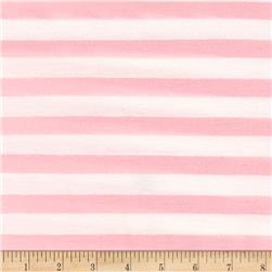 Jersey Knit Baby Pink Stripe on Ivory
