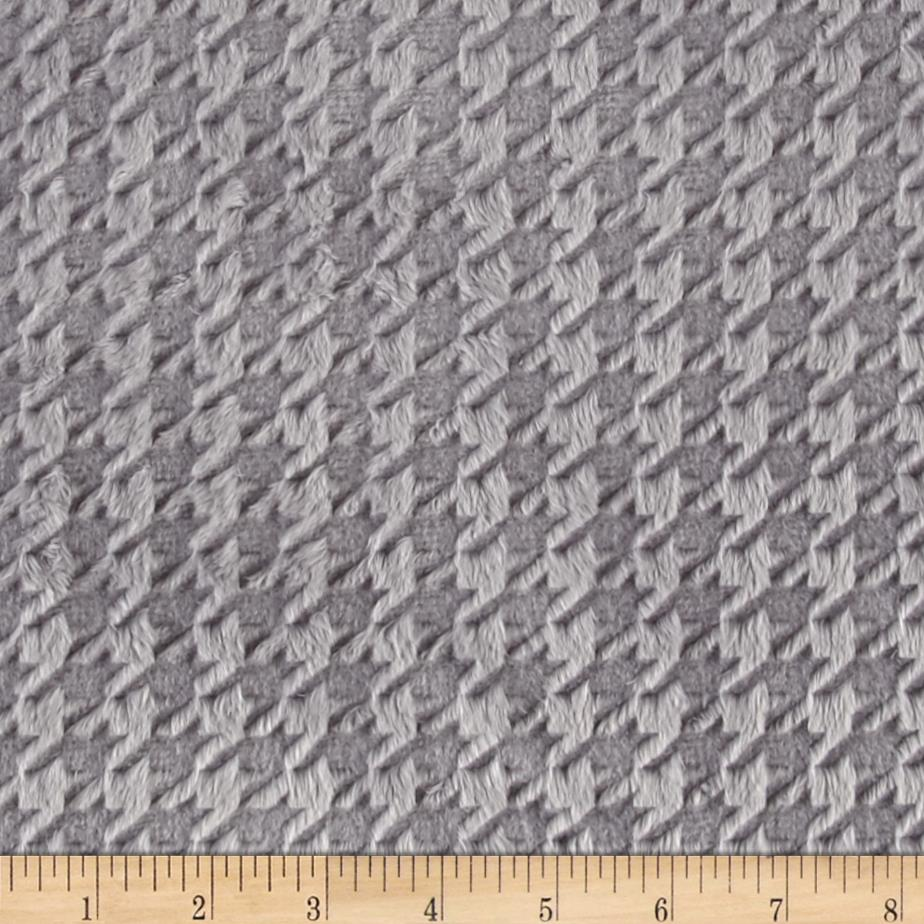 Minky Embossed Houndstooth Silver